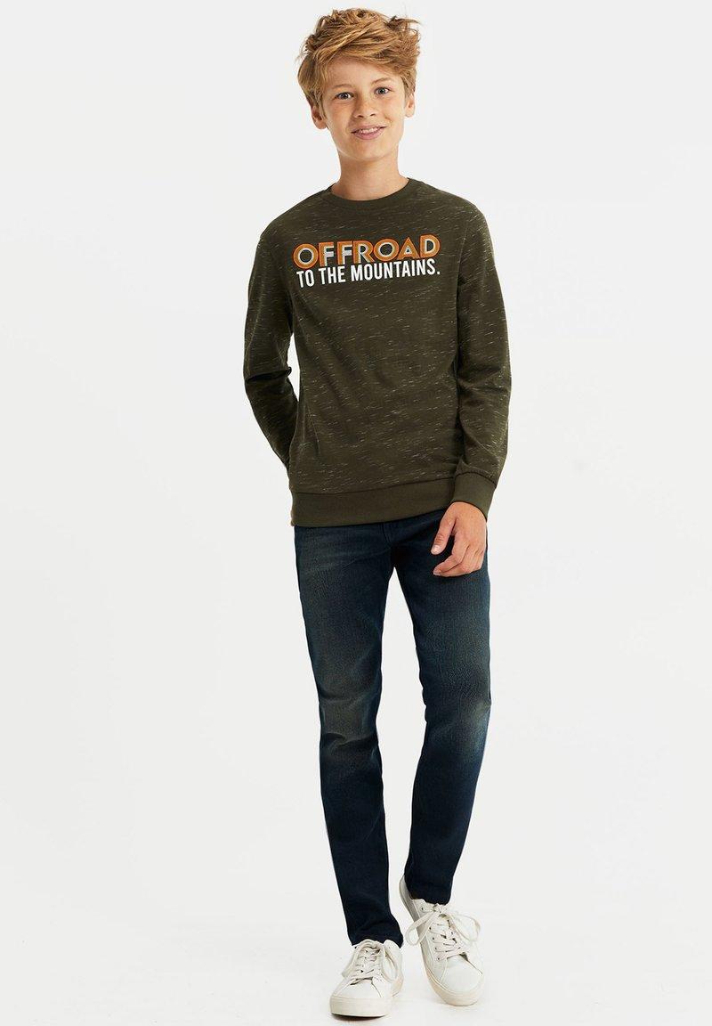 WE Fashion - MET TEKSTOPDRUK - Long sleeved top - dark green