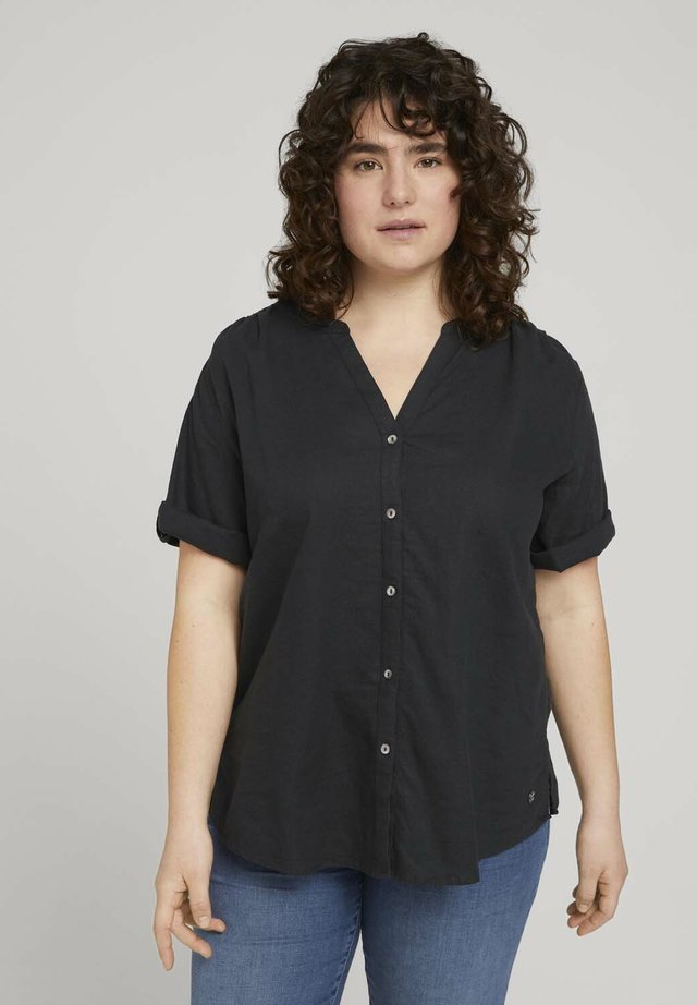 BLOUSE WITH OPEN COLLAR - T-shirt basic - deep black