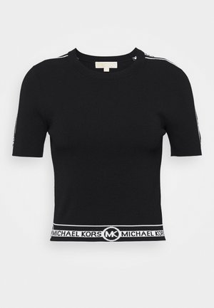 LOGO CROP CREW - Print T-shirt - black