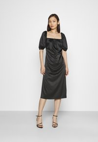 NA-KD - PUFF SLEEVE CUT OUT DRESS - Cocktailkjole - black - 1