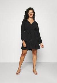 Forever New Curve - COLETTE SKATER WRAP DRESS - Day dress - black - 0