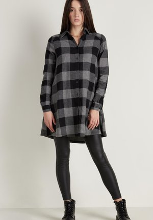 Shirt dress - schwarz -black/charcoal grey maxi tartan