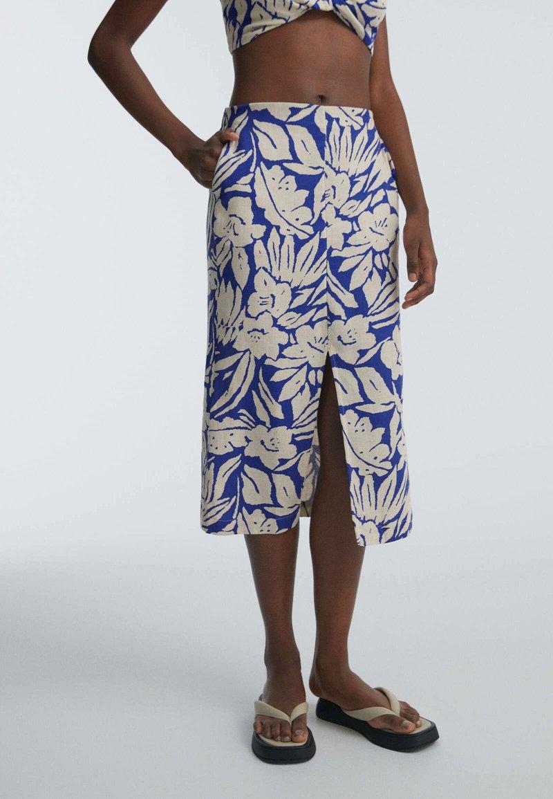 OYSHO - TROPICAL  - A-line skirt - blue
