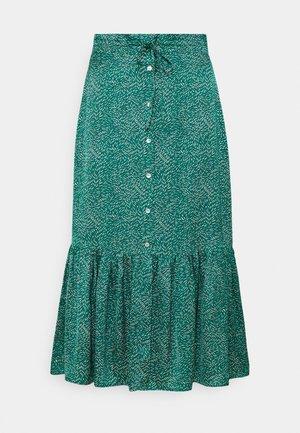 SKIRT LONG BUTTONS WHEAT PRINT - A-line skirt - green