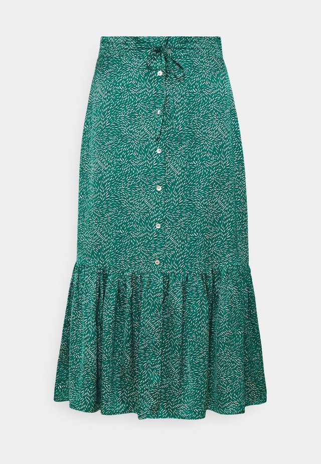SKIRT LONG BUTTONS WHEAT PRINT - A-line skirt - green