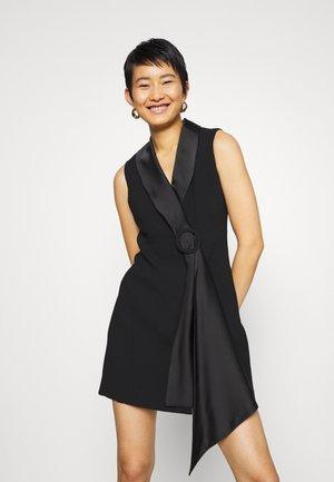 DRAPE TUXEDO DRESS - Shift dress - black
