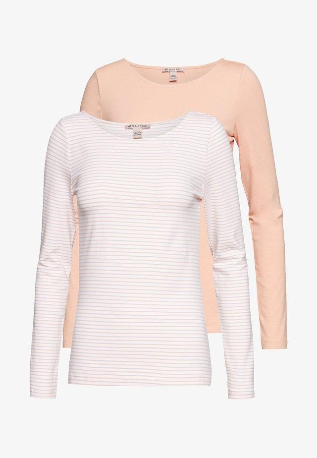 2 PACK - Camiseta de manga larga - dusty pink/white