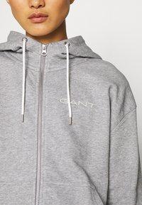 GANT - STRIPES FULL ZIP HOODIE - Zip-up hoodie - grey melange - 5