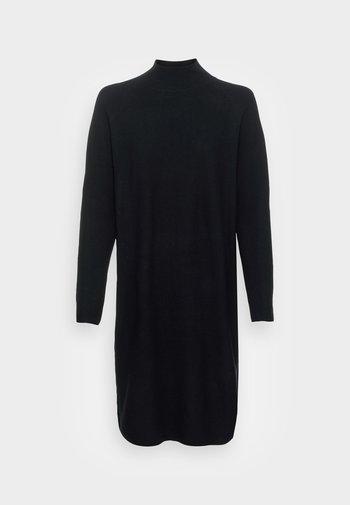 DRESS SHORTSLEEVE ROUND-NECK RICE CORN STRUCTURE - Gebreide jurk - black