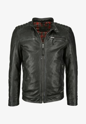 MIT ABSTEPPUNGEN  - Leather jacket - anthrazit