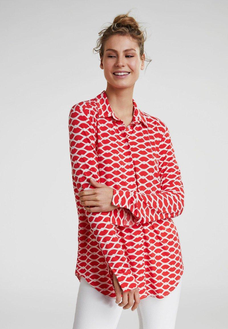 Oui - Button-down blouse - red white