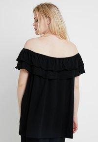 New Look Curves - DOUBLE RUFFLE BARDOT 2 PACK  - Print T-shirt - black/mustard - 3