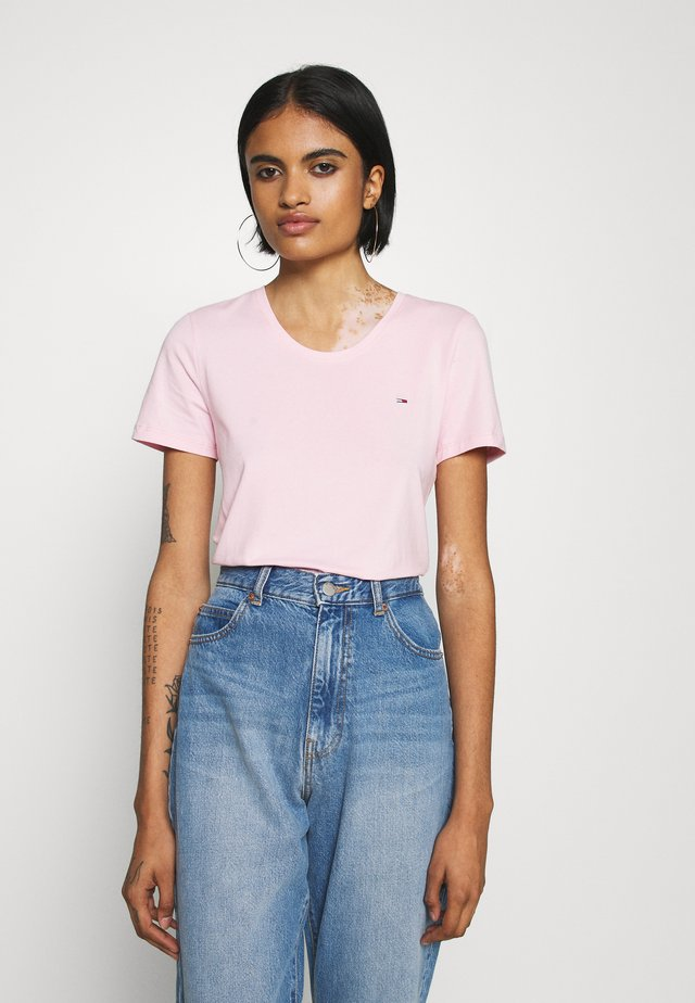 STRETCH CREW TEE - Print T-shirt - romantic pink