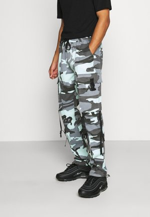 CAMO STRAP PANTS - Cargo trousers - blue