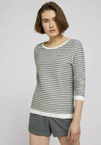 TOM TAILOR DENIM - STRIPED - Sweatshirt - green white structured stripe - 0