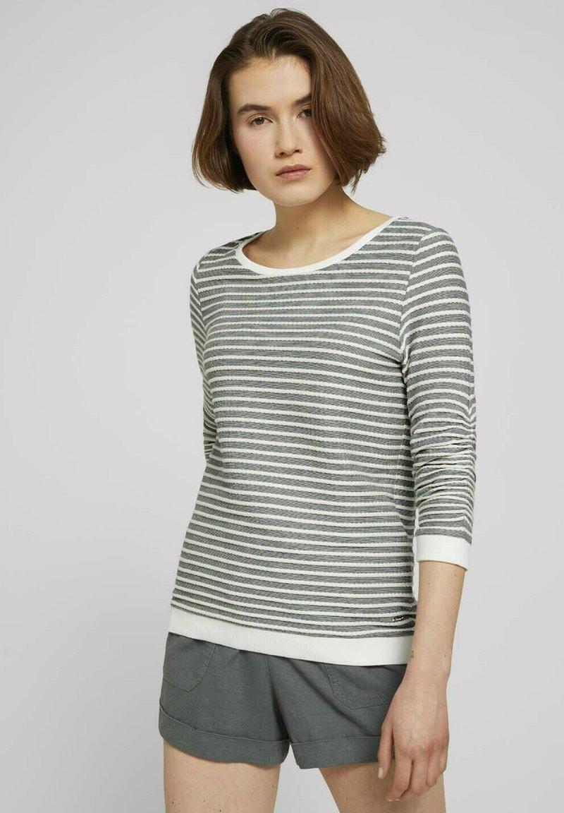 TOM TAILOR DENIM - STRIPED - Sweatshirt - green white structured stripe