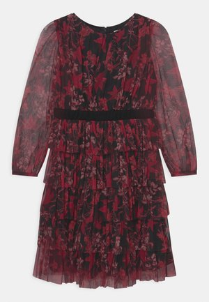 TIERED DRESS WITH BOW - Cocktailjurk - red