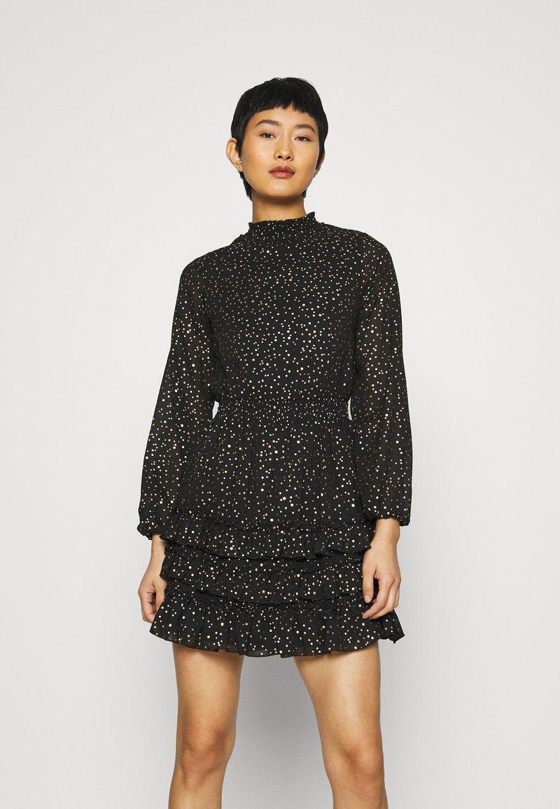 Dorothy Perkins - SPOT MINI RUFFLE - Day dress - black