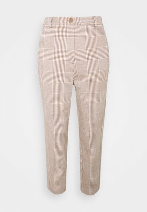 CHECKED BARREL LEG PANTS - Trousers - offwhite/beige