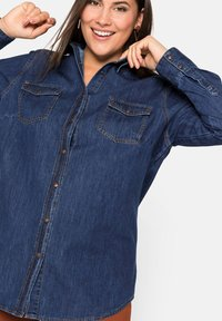 Sheego - Button-down blouse - blue denim - 3