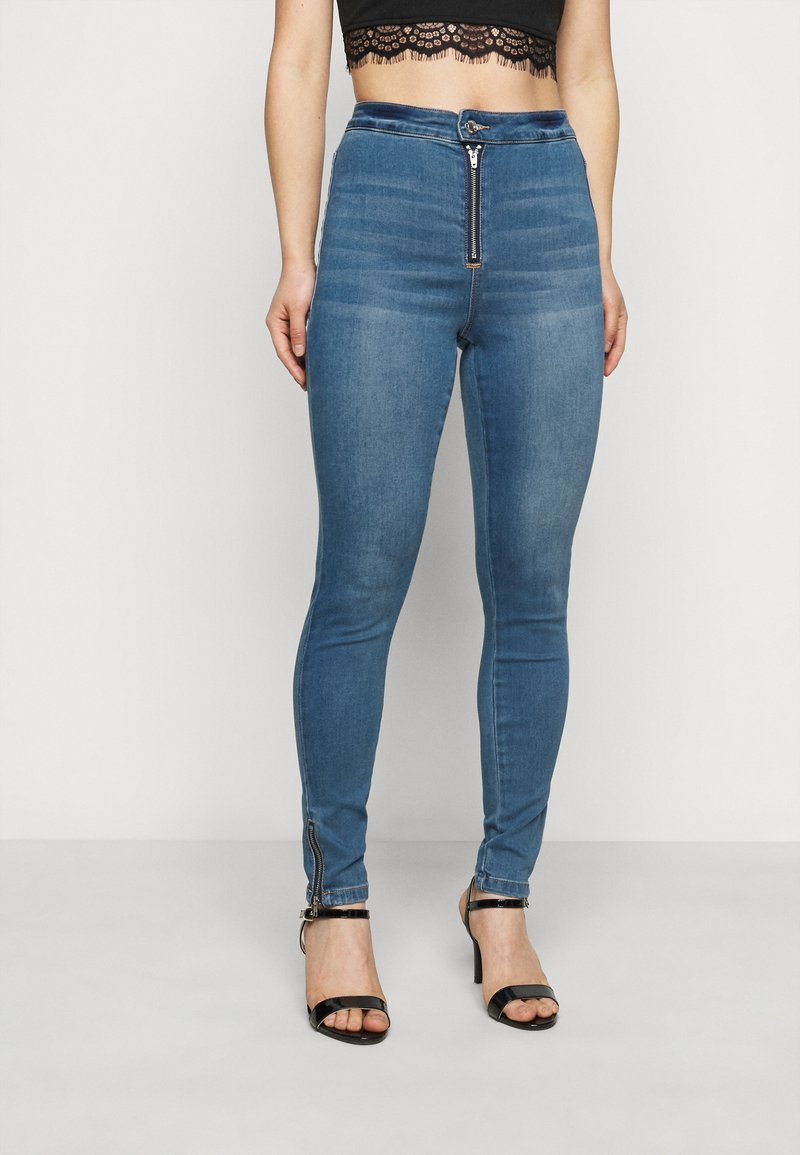 Missguided Petite - VICE HIGHWAISTED SKINNY WITH ZIP FLY - Jeans Skinny Fit - blue