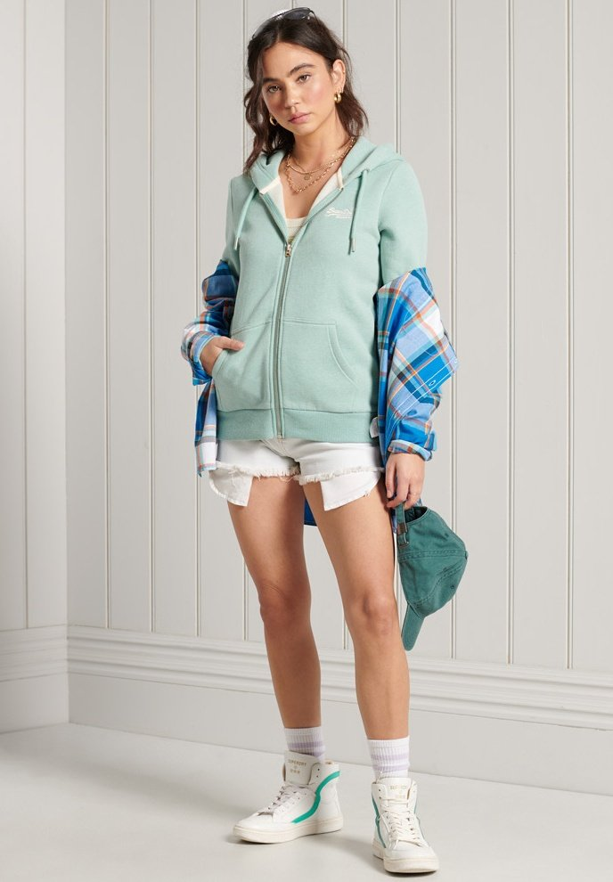 Superdry - ORANGE LABEL - veste en sweat zippée - sage marl