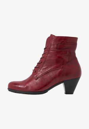 Bottines à lacets - dark red