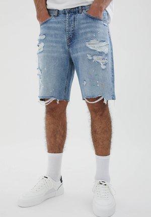 MIT RISSEN - Denim shorts - light blue