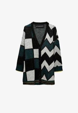MIT JACQUARDMUSTER - Cardigan - dark green