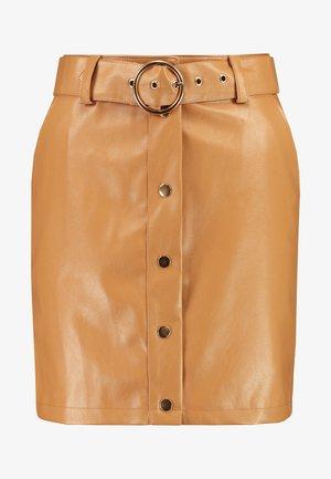 ADORABLE CARO BUTTON DETAIL SKIRT - Mini skirt - tan