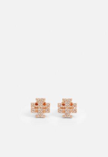 KIRA PAVE STUD EARRING - Orecchini - rose gold-coloured/crystal
