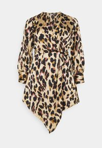 Missguided Plus - ANIMAL PRINT WRAP FRONT DRESS - Day dress - sand - 0