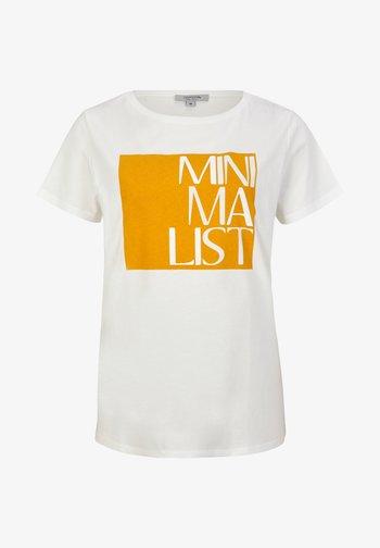 KURZARM - Print T-shirt - white apricot minimalist