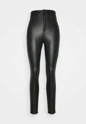 WITH BUTTON - Leggings - black