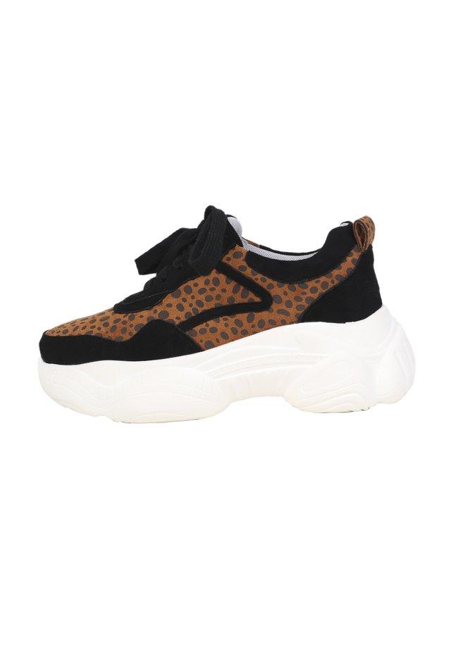 Baskets basses - black/ leopard