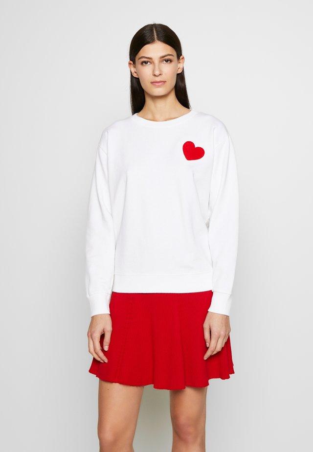 HEART CHENILLE EMBROIDERED - Felpa - white