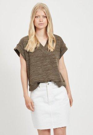 FLÜGELÄRMEL - Print T-shirt - dark olive