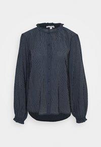 TOM TAILOR DENIM - STRIPED RUFFLE NECK BLOUSE - Blouse - dark blue - 0