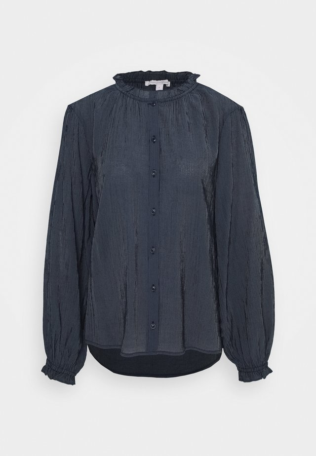 STRIPED RUFFLE NECK BLOUSE - Blouse - dark blue