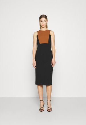 NOVA FRONT PANEL MIDI DRESS - Koktejlové šaty / šaty na párty - black/brown