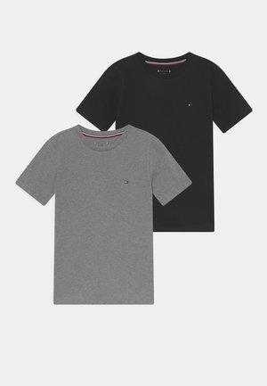 TEE 2 PACK  - Jednoduché triko - medium grey heather/black