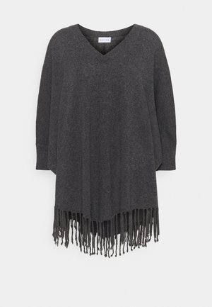 VNECK SLEEVES FRINGES - Cape - dark grey