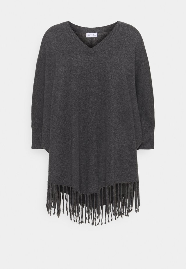 VNECK SLEEVES FRINGES - Poncho - dark grey