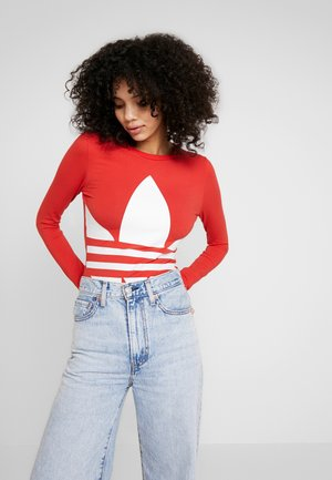 LOGO BODY - Camiseta de manga larga - lush red/white