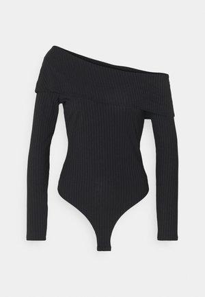 BARE SHOULDER FOLD BODY - Long sleeved top - black
