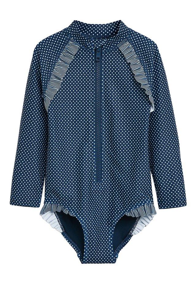 NAVY SPOT LONG SLEEVE SUNSAFE SWIMSUIT (3MTHS-12YRS) - Swimsuit - blue