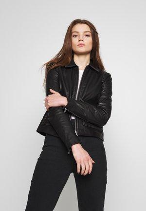 OBJNETTIE L JACKET - Leather jacket - black