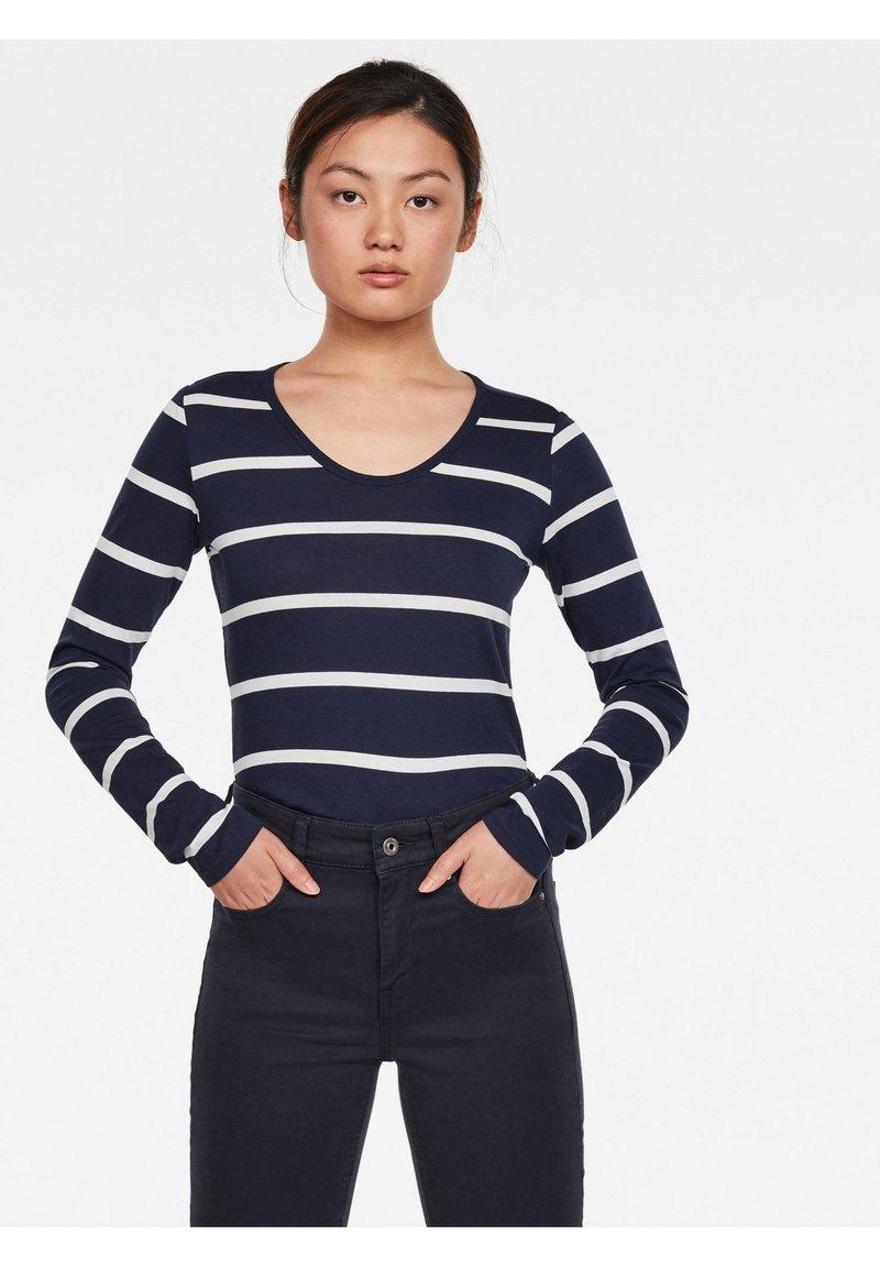 G-Star - CORE EYBEN SLIM U T WMN L\S - Long sleeved top - sartho blue monk stripe