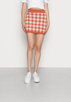 MINI SKIRT - Mini skirt - rust gingham
