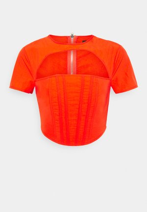 CUT OUT CORSET DETAIL - Print T-shirt - orange
